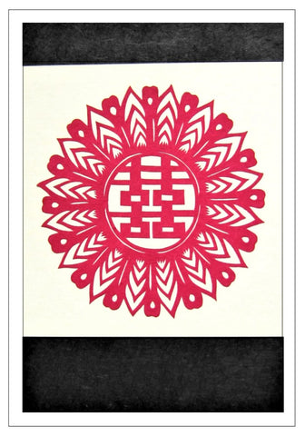 Chinese Papercut Greeting Card w/Envelope - Double Happiness   CFA43