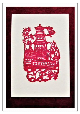 Chinese Papercut Greeting Card w/Envelope - Temple Scene   CFA49