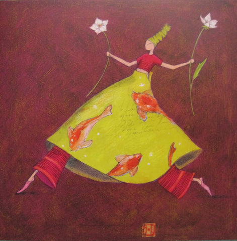 Gaelle Boissonnard art card girl in green red with flowers maroon background square card blank card