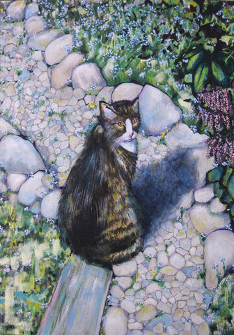 Pam Young art card kitty in a garden blank card 5 x 7 in 12 x 18 cm
