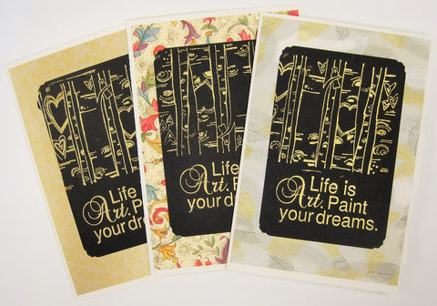 Handmade Gold Embossed Greeting Card by Valerie Taylor   Life is Art