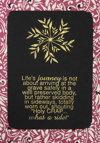 Handmade Gold Embossed Greeting Card by Valerie Taylor   Life's Journey