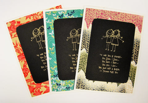 Handmade Gold Embossed Greeting Card by Valerie Taylor   Me and You