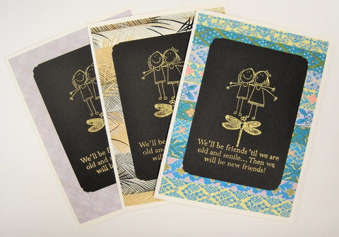 Handmade Gold Embossed Greeting Card by Valerie Taylor   New Friends