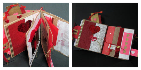 Two photos of a finished paper bag book Valentines theme in red & white with lots of specialty papers, trims