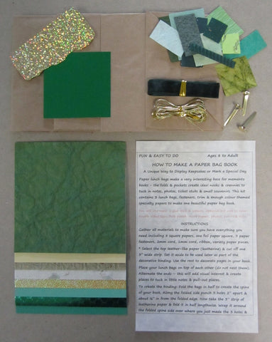 Paper bag book kit contains instructions, 3 lunch bags, fasteners, trim & enough green color-themed specialty papers to make one book.