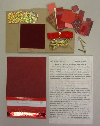 Paper bag book kit contains instructions, 3 lunch bags, fasteners, trim & enough red color-themed specialty papers to make one book.