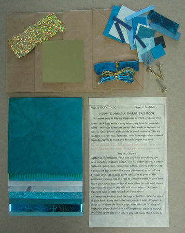 Paper bag book kit contains instructions, 3 lunch bags, fasteners, trim & enough turquoise color-themed specialty papers to make one book.