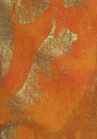 Thai Thailand marbled momi handmade paper orange and gold
