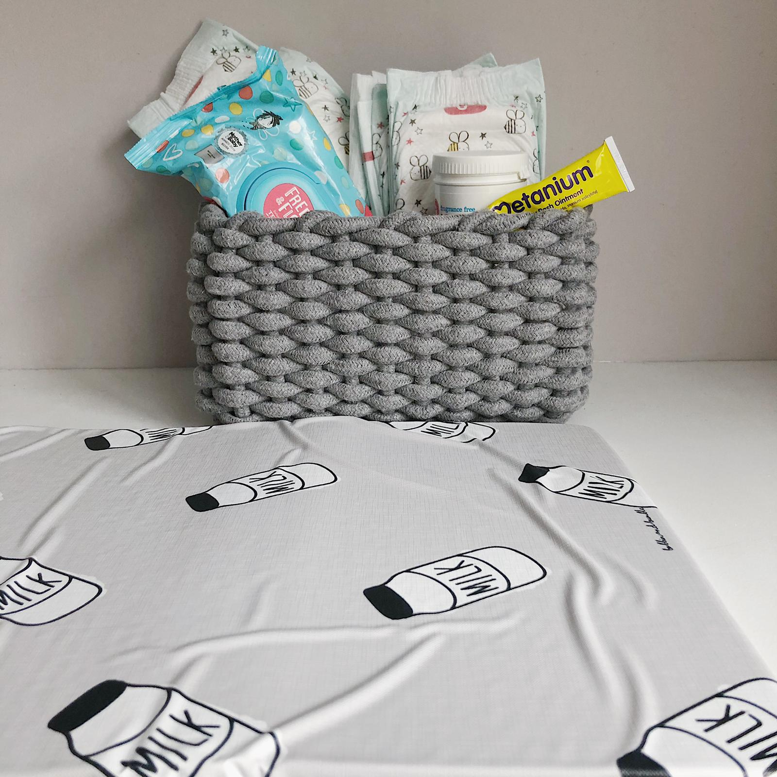 grey mrs hinch nappy caddy with grey mini changing mat