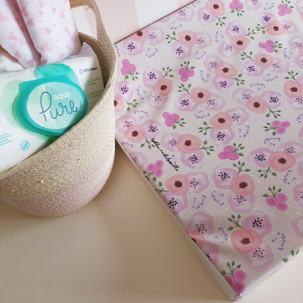 bobbin-and-bumble's Anti-Roll Wedge Changing Mat - Pink Sweet Pea Floral