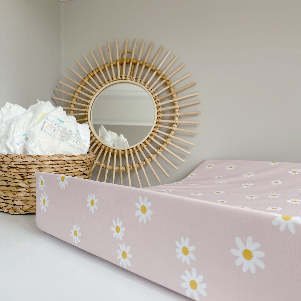 bobbin-and-bumble's Anti-Roll Wedge Changing Mat - Pink Daisy Print.