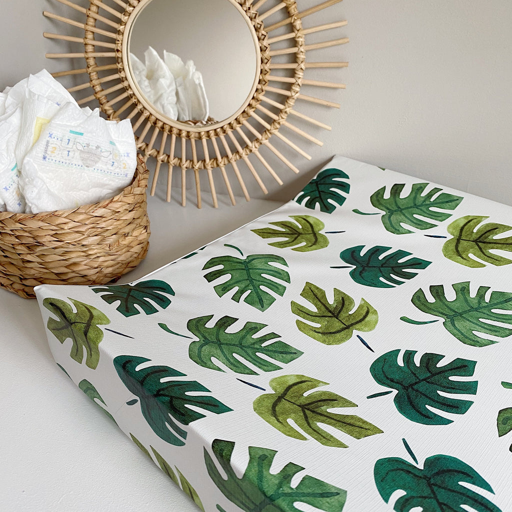 bobbin-and-bumble's Anti-Roll Wedge Changing Mat - Monstera Leaf.