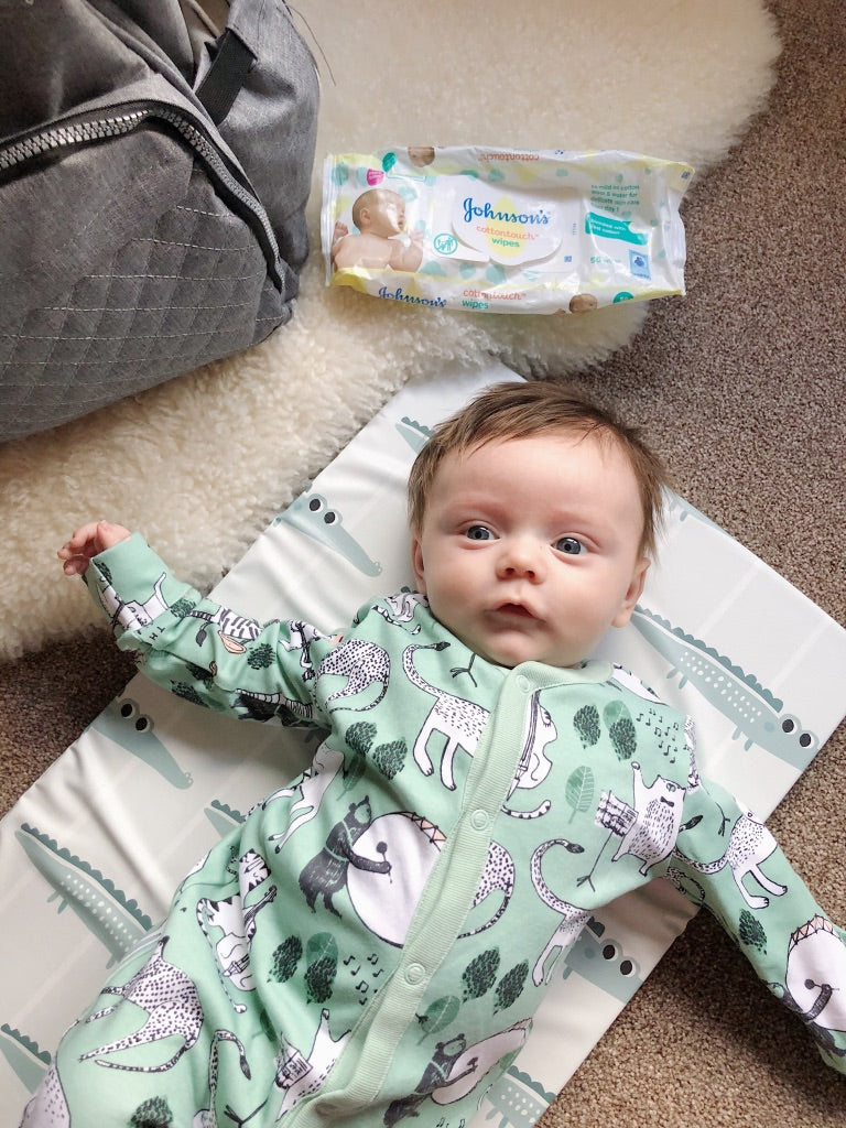 bobbin-and-bumble's Baby Mini / Travel Changing mat - Friendly Crocodiles Print