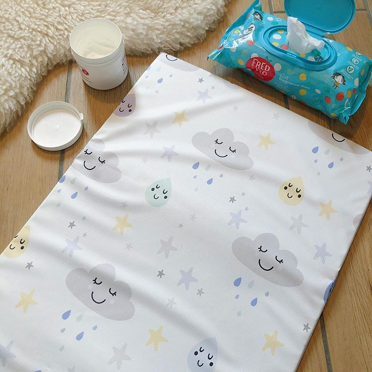 bobbin-and-bumble's Baby Mini / Travel Changing mat - Happy Clouds Print.