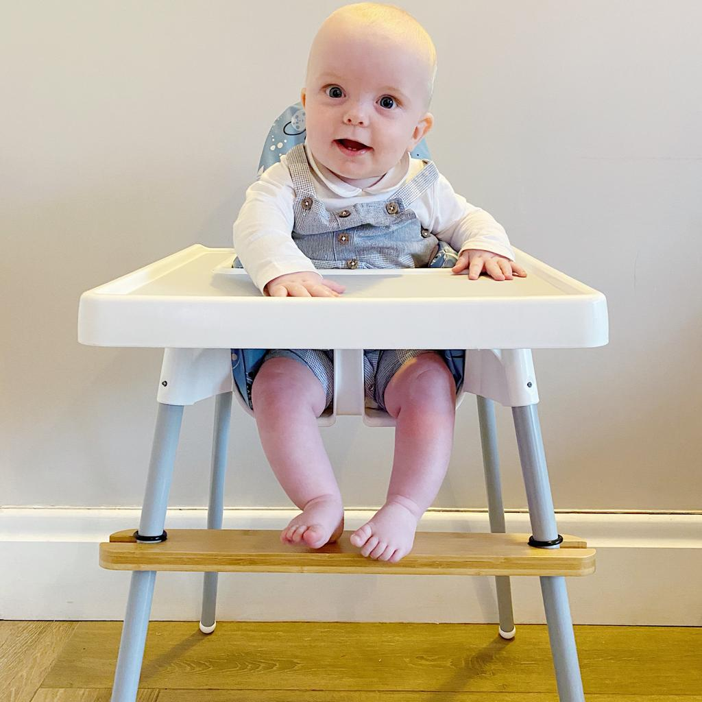 bobbin-and-bumble's Adjustable Ikea highchair footrest - Bamboo timber.