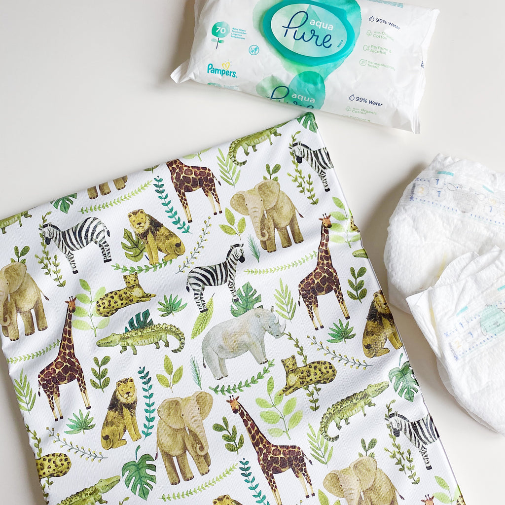 bobbin-and-bumble's Baby Mini / Travel Changing mat - Safari Animals Print