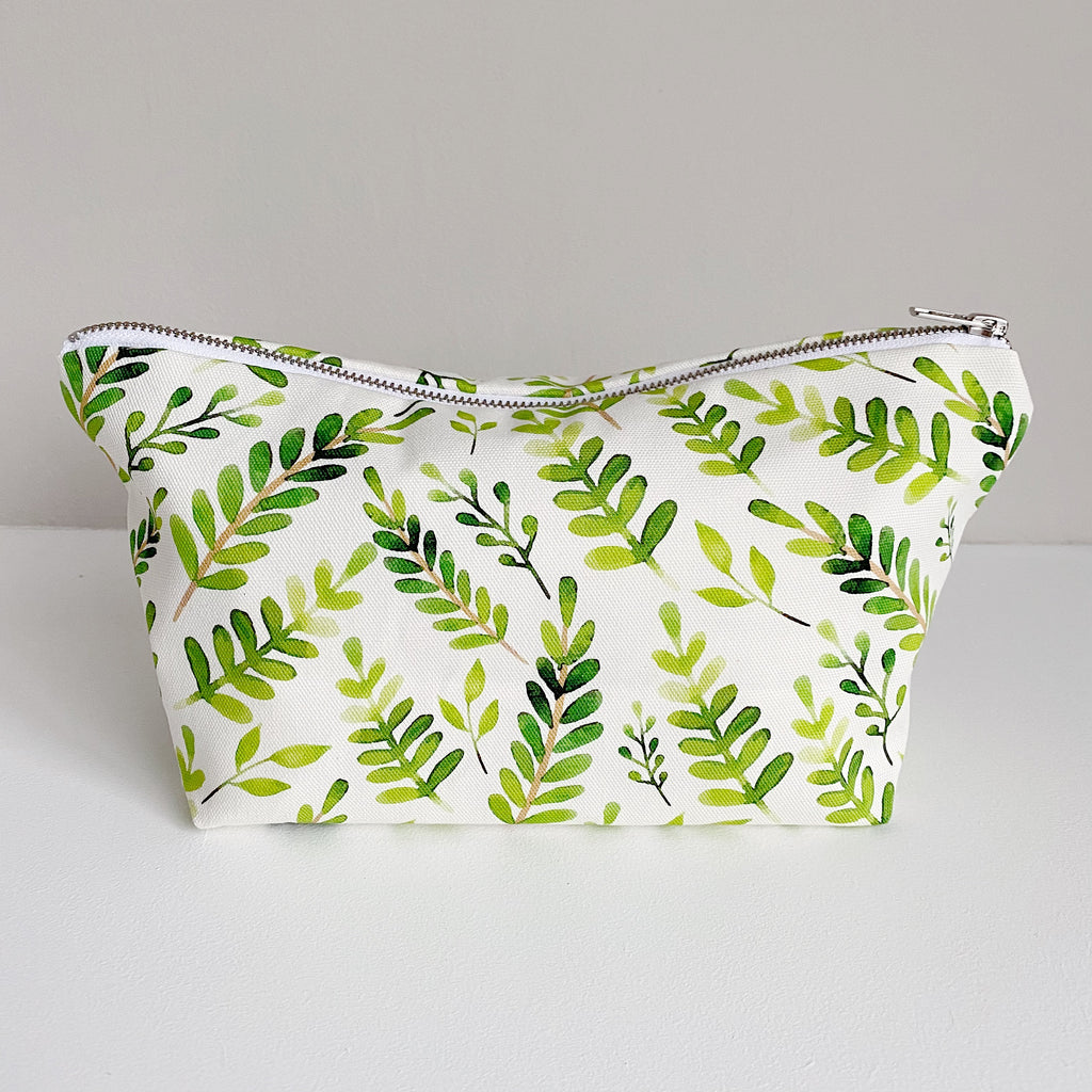 bobbin-and-bumble's Nappy Wallet // Zip Baby Changing Bag Pouch - Botanical Leaf Print.