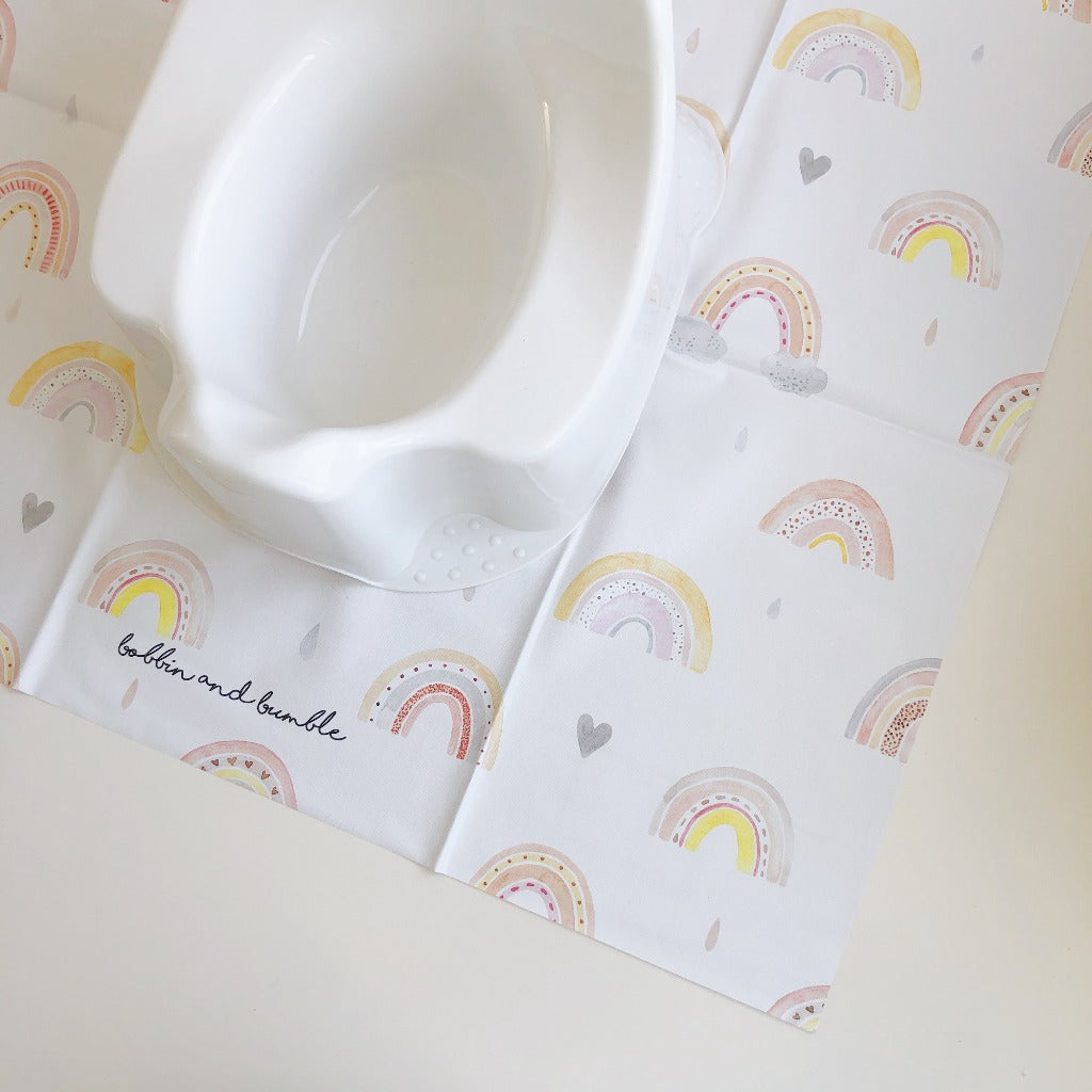 bobbin-and-bumble's Baby Mini Splash / Potty Mat - Beau Rainbows.