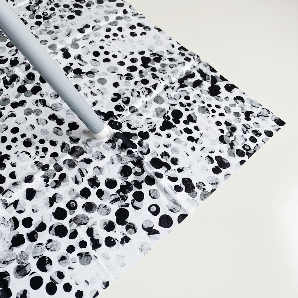 bobbin-and-bumble's Large Baby Splash / Messy Mat - Monochrome Abstract Spot Print.