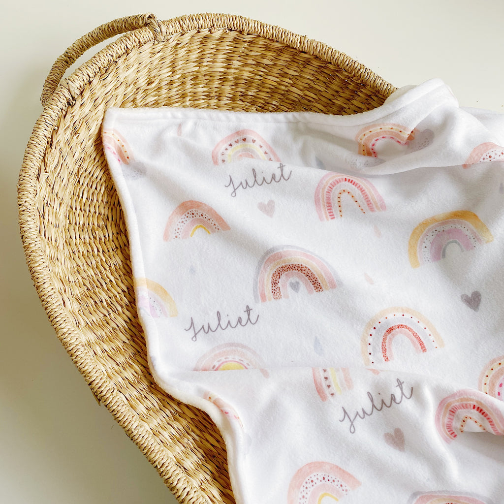 bobbin-and-bumble's Premium Personalised Polar Fleece Baby Blanket - Rainbow Beau.