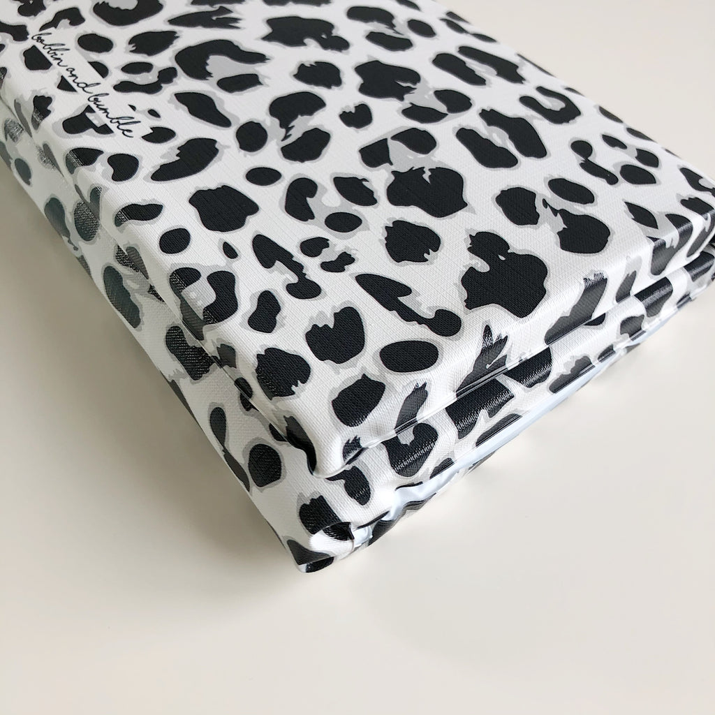 bobbin-and-bumble's Baby Mini / Travel Changing mat - Unisex Monochrome Leopard.