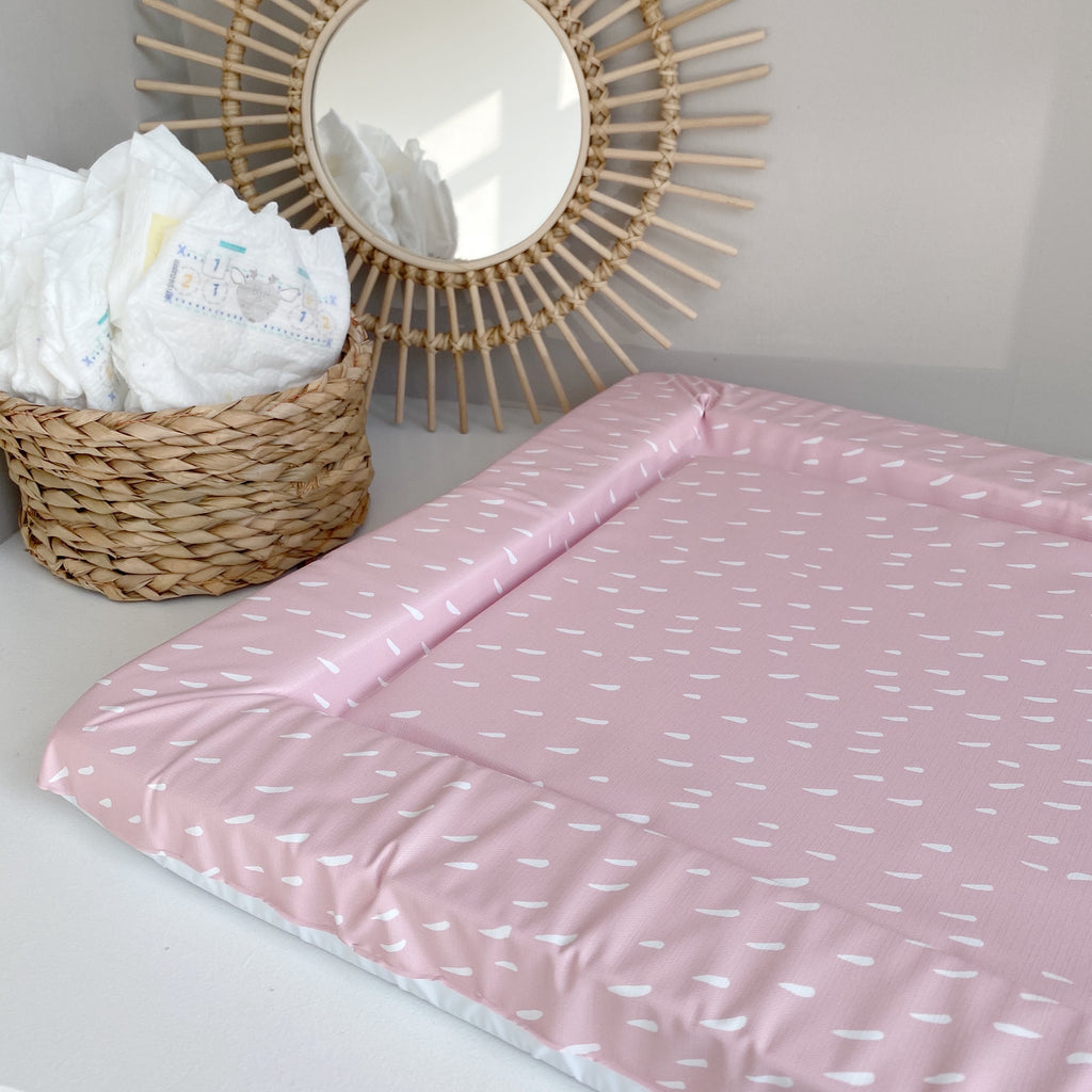 bobbin-and-bumble's Standard Baby Changing Mat - Pink Dash Print.