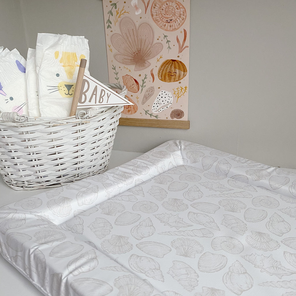 bobbin-and-bumble's Standard Baby Changing Mat - Seashell Print.