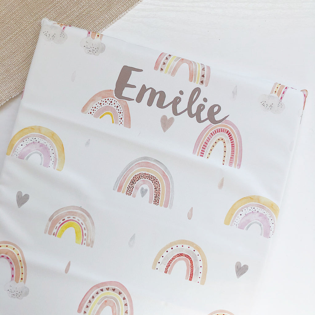 bobbin-and-bumble's PERSONALISED Baby Mini / Travel Changing mat - Rainbow Beau.