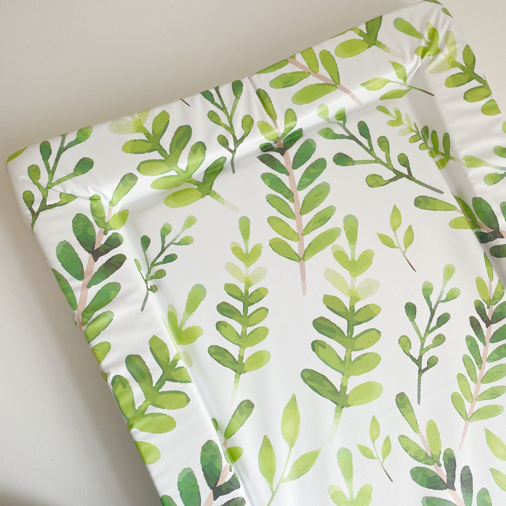 bobbin-and-bumble's Standard Baby Changing Mat - Botanical Leaf Print.