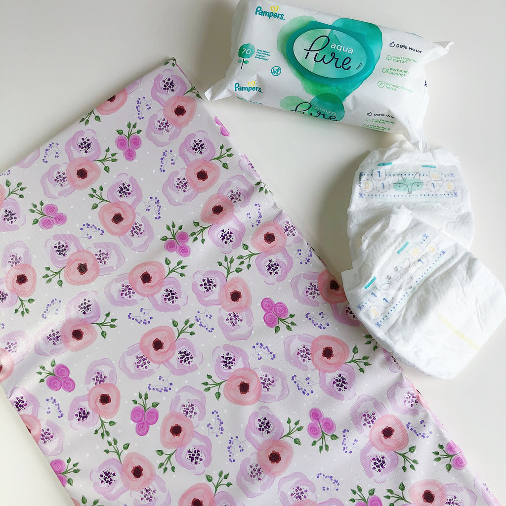 bobbin-and-bumble's Baby Mini / Travel Changing mat - Pink Sweet Pea Floral.