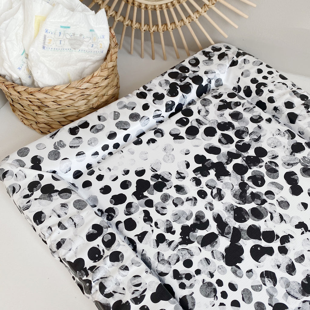 bobbin-and-bumble's Standard Baby Changing Mat - Monochrome Abstract Spot Print.