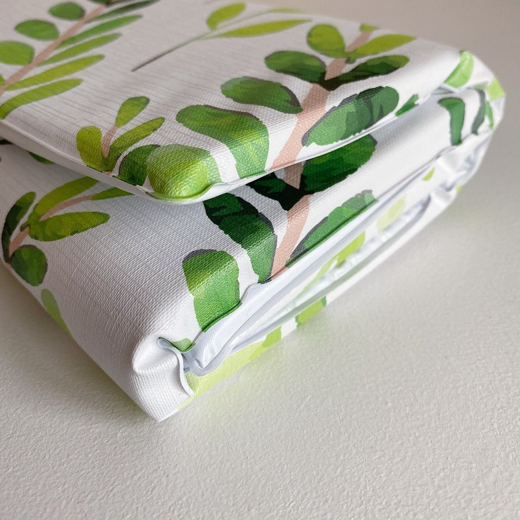 bobbin-and-bumble's Baby Mini / Travel Changing mat - Botanical Leaf Print.