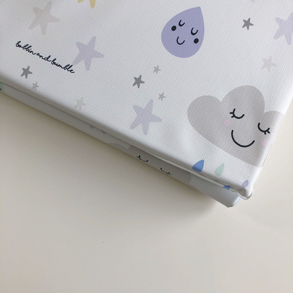 bobbin-and-bumble's PERSONALISED Travel Changing Mat - Happy Clouds