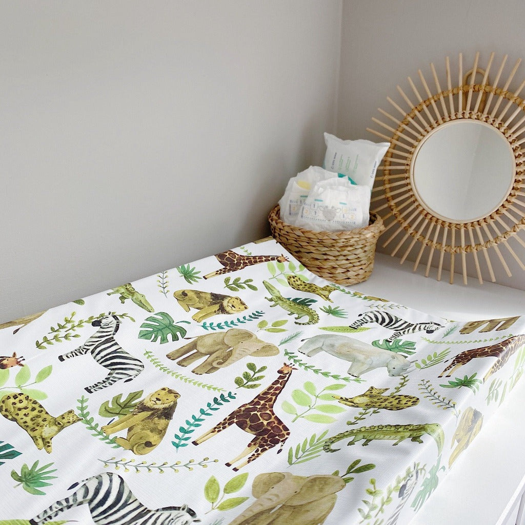 bobbin-and-bumble's Anti-Roll Wedge Changing Mat - Safari Animals Print.