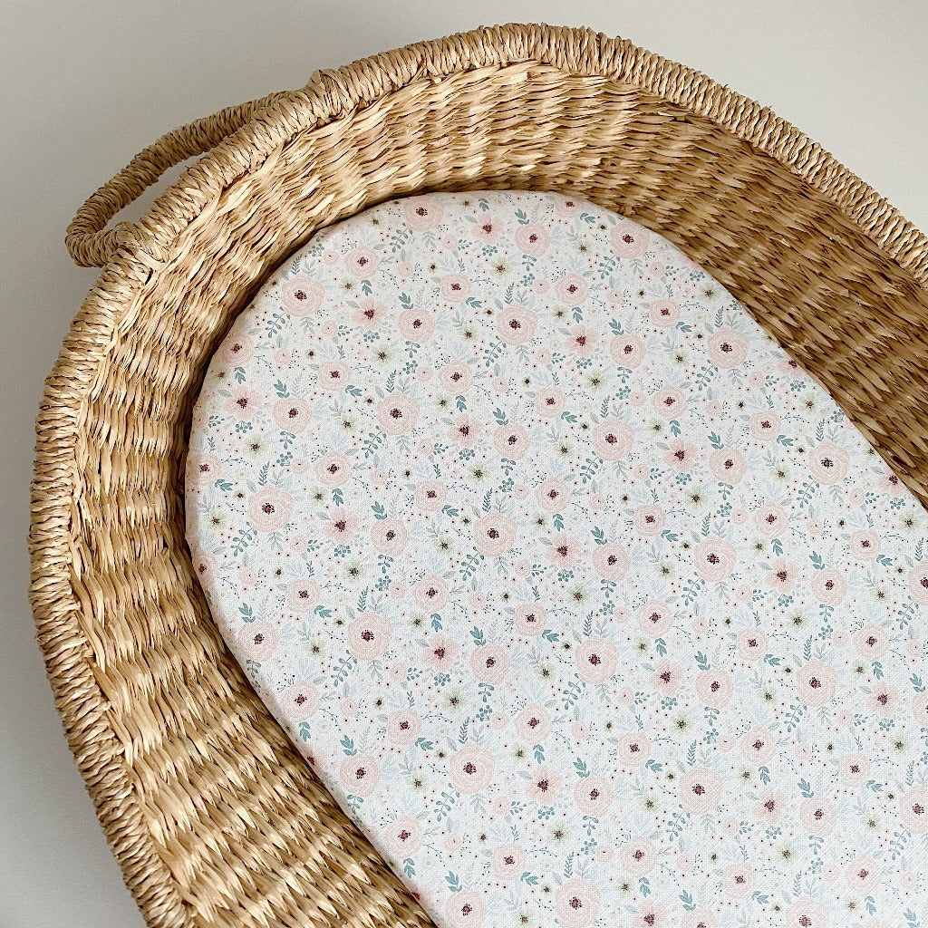 bobbin-and-bumble's Basket Changing Mat - Elberta Peach Floral Print.