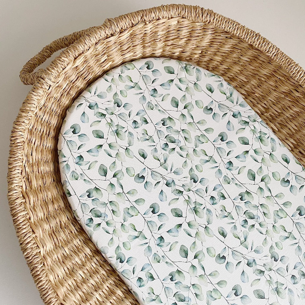 bobbin-and-bumble's Basket Changing Mat - Eucalyptus Print.