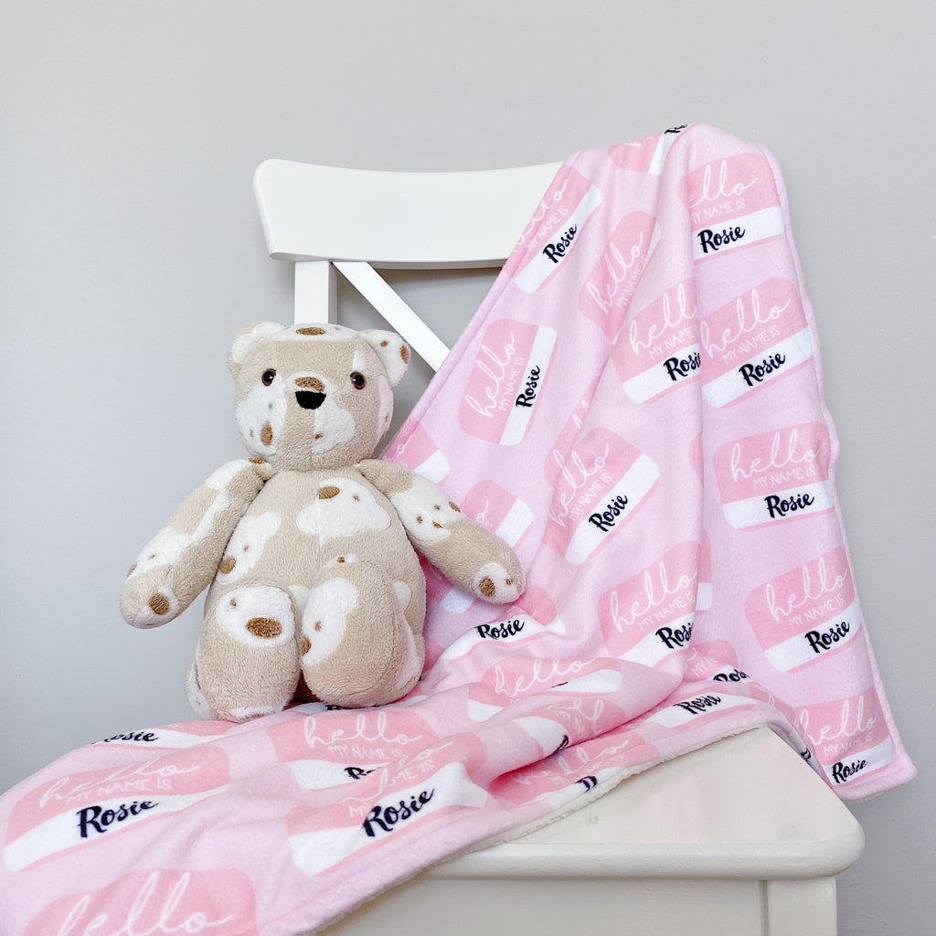 "bobbin-and-bumble's Premium Personalised Polar Fleece Baby Blanket ""Hello My Name Is..."" - Baby Girl Pink."