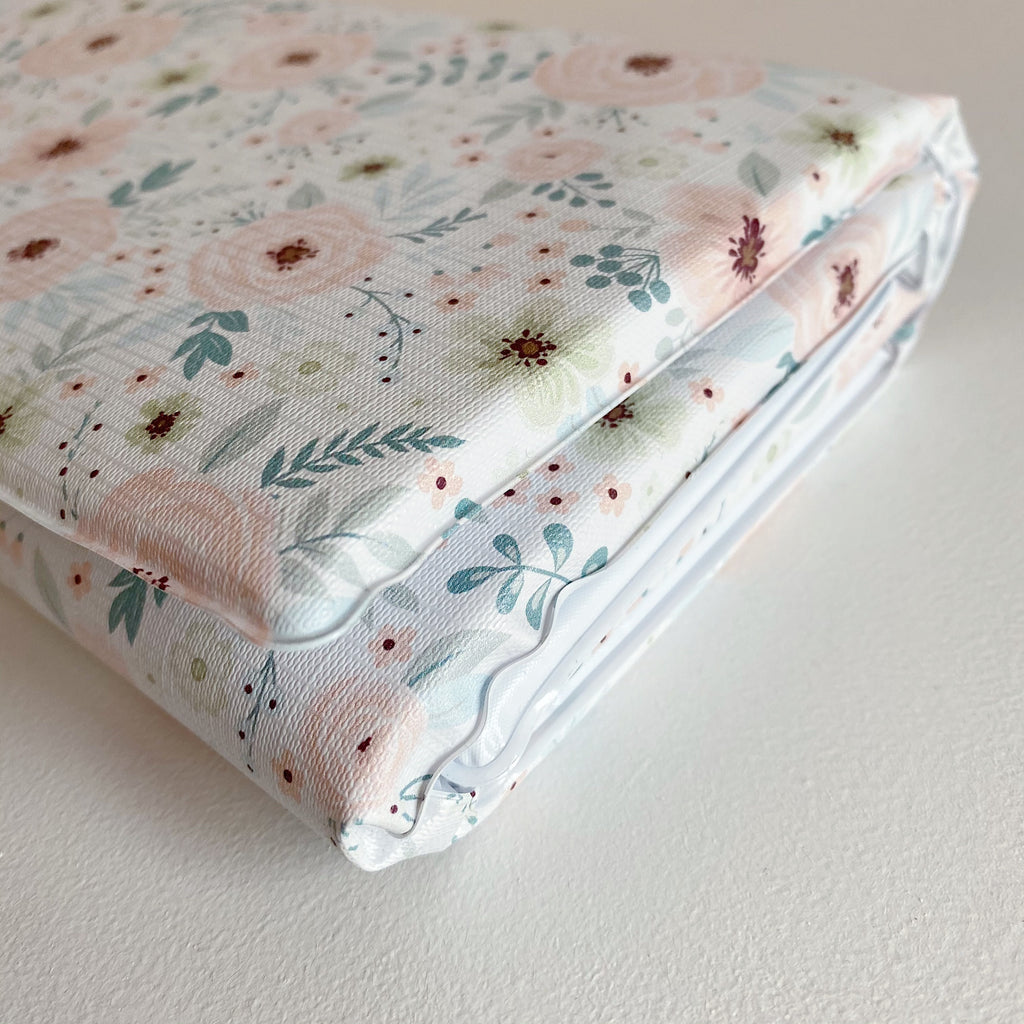 bobbin-and-bumble's Baby Mini / Travel Changing mat - Elberta Peach Floral Print.