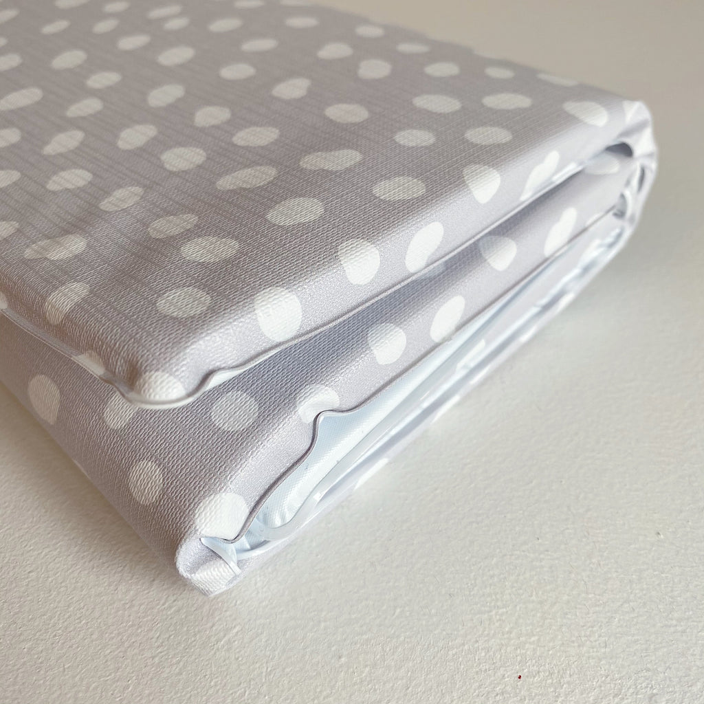 bobbin-and-bumble's Baby Mini / Travel Changing mat - Grey Spot Print.