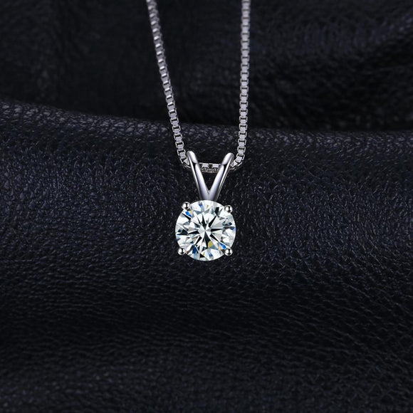 Round 1ct CZ Solitaire Pendant Necklace 925 Sterling Silver