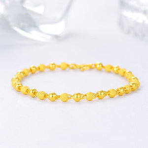24K Pure Gold Bracelet Frosted Bead