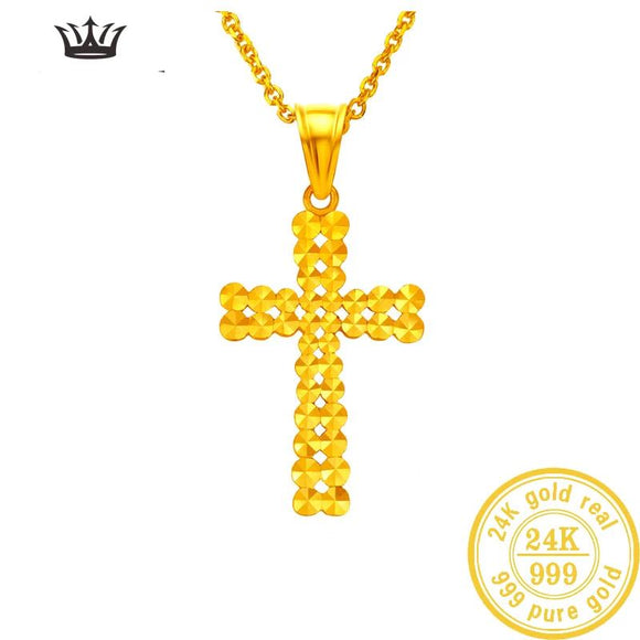 Perforated cross 24K Gold Pendant