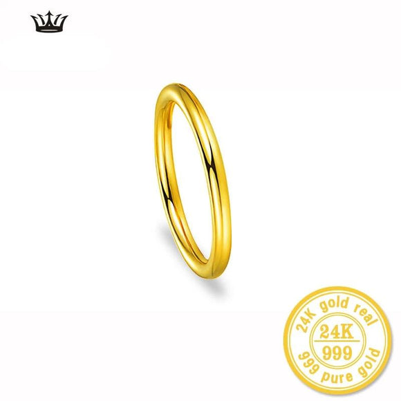24k Gold Pure Yellow Ring Smooth Surface
