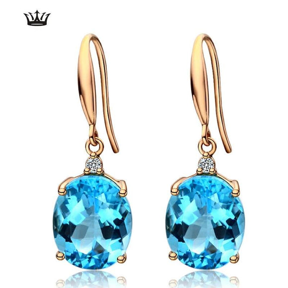 Natural topaz 18K Gold Earring  Diamond