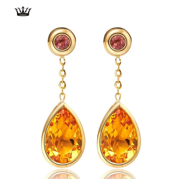 Natural citrine 18K Gold Earring Diamond