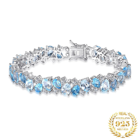 Natural London Blue Topaz 23ct 925 Sterling Silver Bracelet