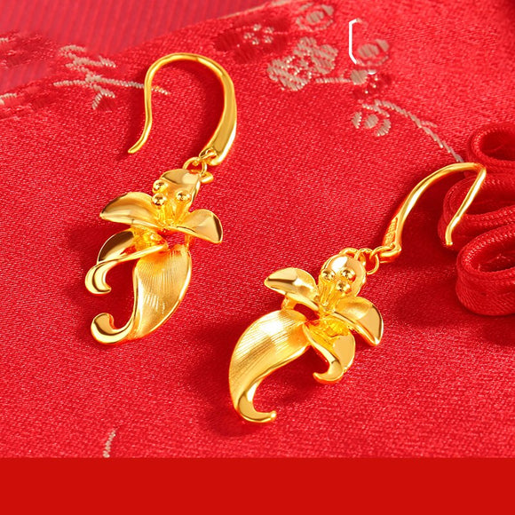 Flower-shaped earring 24K