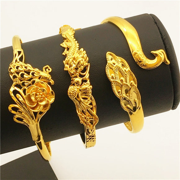 Bracelet 24K Gold plated Dubai Sand, Dragon and Phoenix
