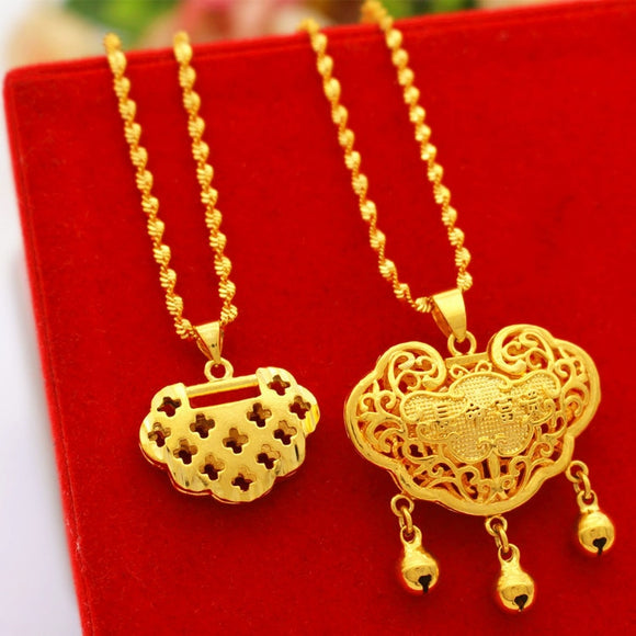 Longlife Lock Pendant 24K Gold plated Color